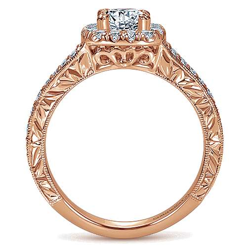 14k Pink Gold Diamond Halo Engagement Ring angle 2