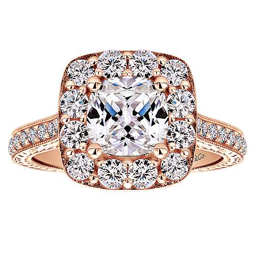 14k Pink Gold Diamond Halo Engagement Ring angle 5
