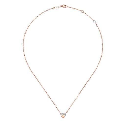 14k Pink Gold Diamond Heart Necklace angle 2