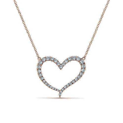 14k Pink Gold Diamond Heart Necklace angle 1