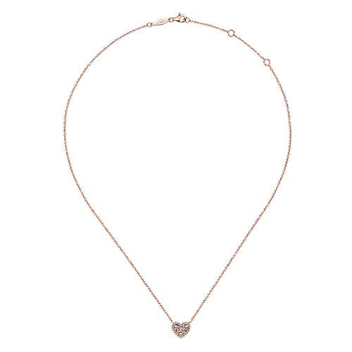 14k Pink Gold Diamond Heart Necklace angle 2