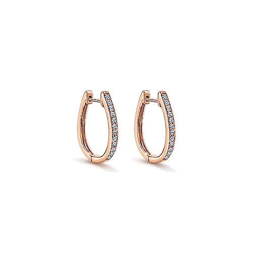 14k Pink Gold Diamond Huggie Earrings angle 1