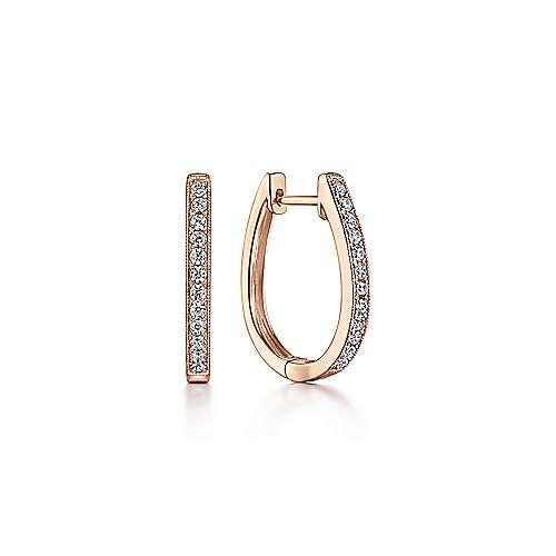 14k Pink Gold Diamond Huggie