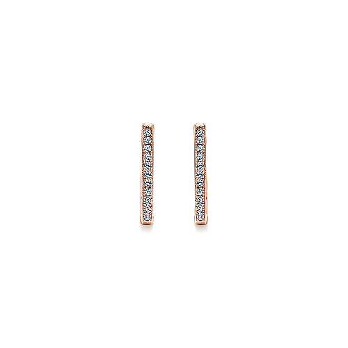 14k Pink Gold Diamond Huggie Earrings angle 3