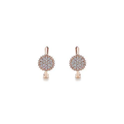 14k Pink Gold Diamond Huggie Earrings angle 3