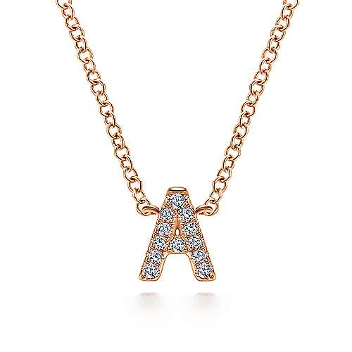Gabriel - 14k Pink Gold Initial Necklace