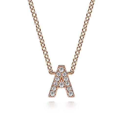 14k Pink Gold Diamond Initial