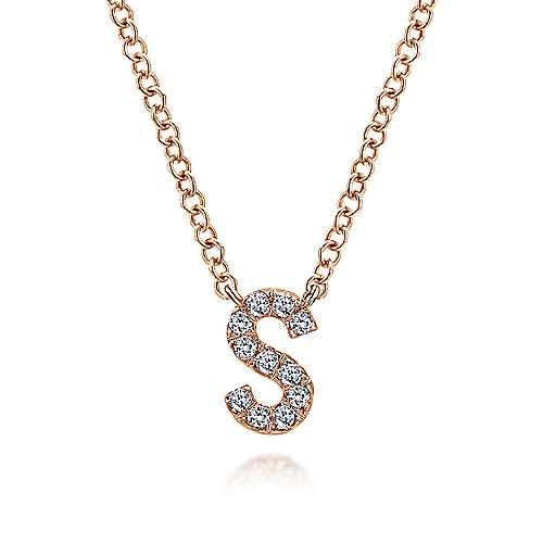 14k Pink Gold Diamond Initial Necklace angle 1