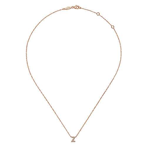 14k Pink Gold Diamond Initial Necklace angle 2