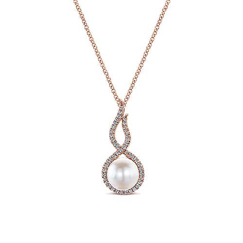 14k Pink Gold Diamond Pearl Fashion Necklace angle 1