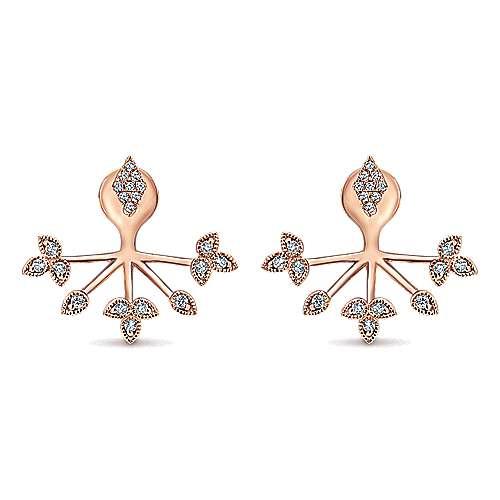 Gabriel - 14k Pink Gold Gemini Earrings Peek A Boo Earrings