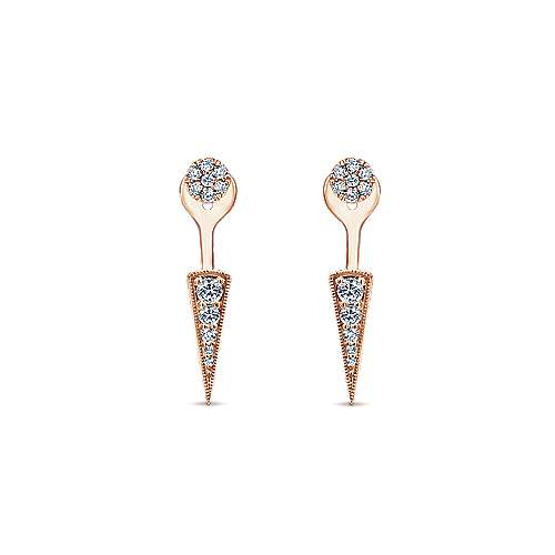 Gabriel - 14k Pink Gold Gemini Earrings Peek A Boo Earrings