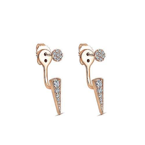 14k Pink Gold Diamond Peek A Boo Earrings angle 2