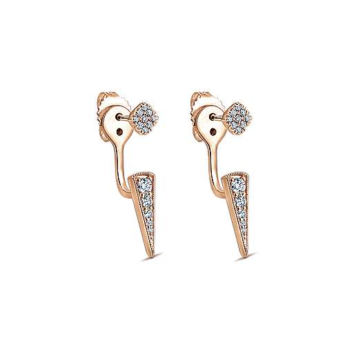 14k Pink Gold Diamond Peek A Boo Earrings angle 2