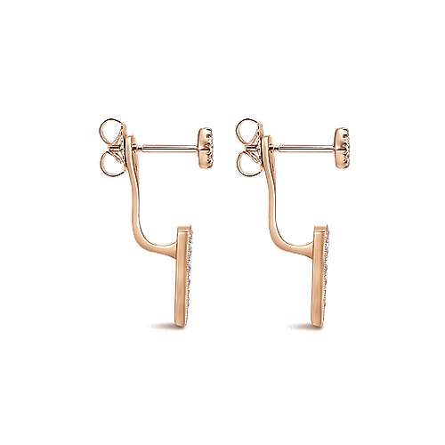 14k Pink Gold Diamond Peek A Boo Earrings angle 3