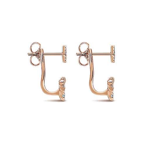 14k Pink Gold Diamond Peek A Boo Earrings angle 3