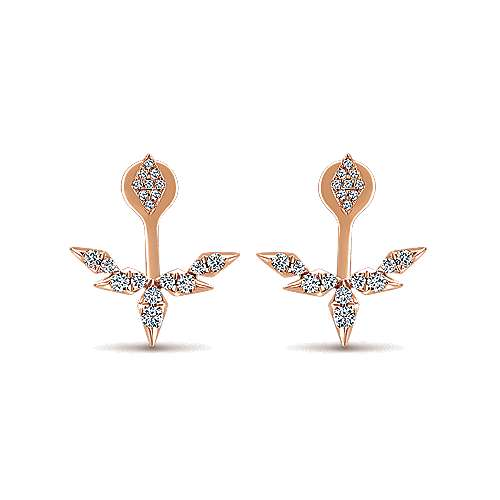14k Pink Gold Diamond Peek A Boo Earrings angle 1