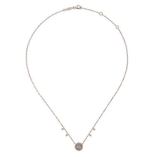 14k Pink Gold Diamond Round  Pavé Pendant Fashion Necklace angle 2