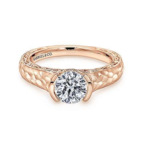 Gabriel - 14k Pink Gold Round Solitaire Engagement Ring