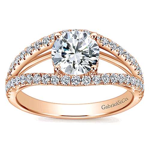 14k Pink Gold Diamond Split Shank Engagement Ring angle 5