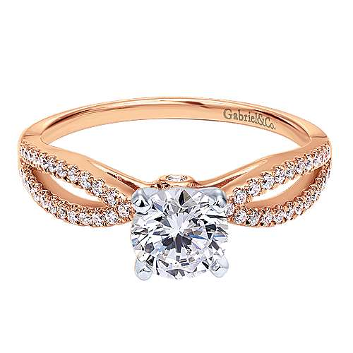 14k Pink Gold Diamond Split Shank Engagement Ring angle 1