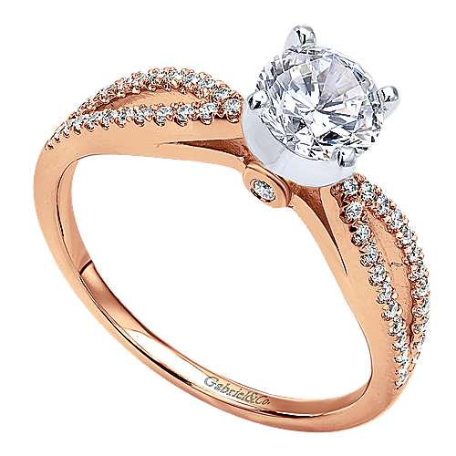 14k Pink Gold Diamond Split Shank Engagement Ring angle 3