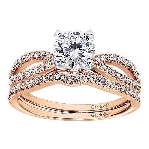 14k Pink Gold Diamond Split Shank Engagement Ring angle 4