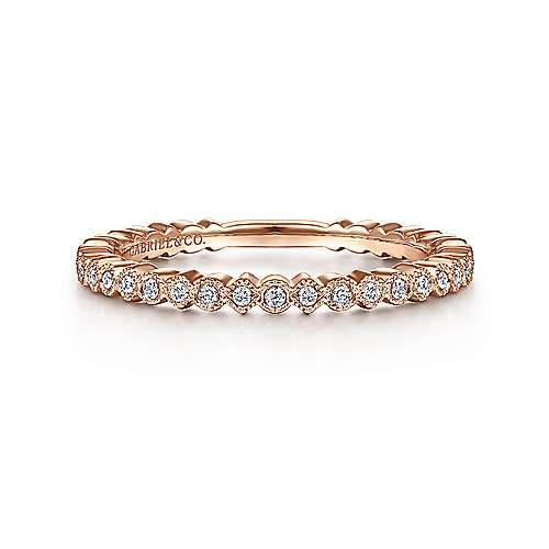 14k Pink Gold Diamond Stackable
