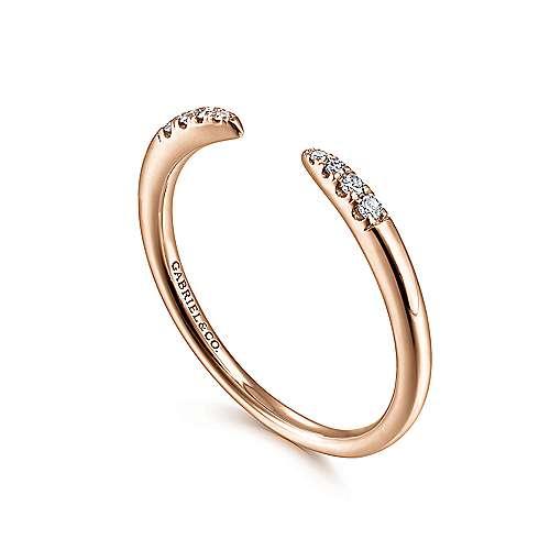 14k Pink Gold Diamond Stackable Ladies