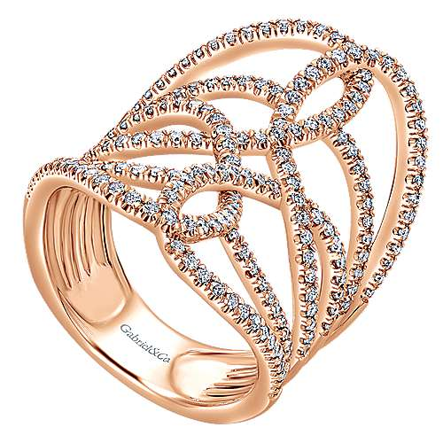 14k Pink Gold Diamond Statement Ladies
