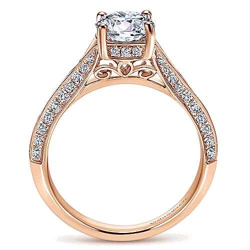 14k Pink Gold Diamond Straight Engagement Ring angle 2