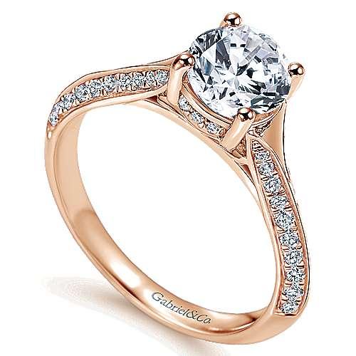 14k Pink Gold Diamond Straight Engagement Ring angle 3