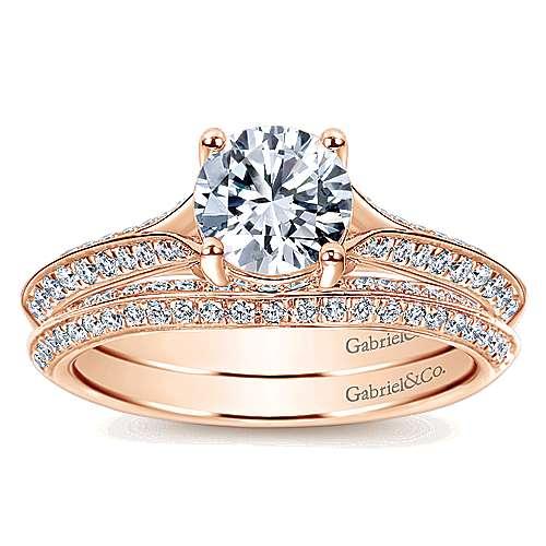 14k Pink Gold Diamond Straight Engagement Ring angle 4