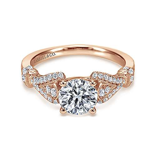 14k Pink Gold Diamond Straight Engagement Ring angle 1
