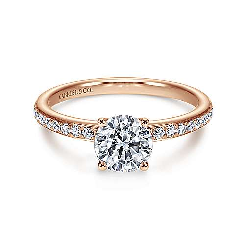 Gabriel - 14k Pink Gold Round Straight Engagement Ring