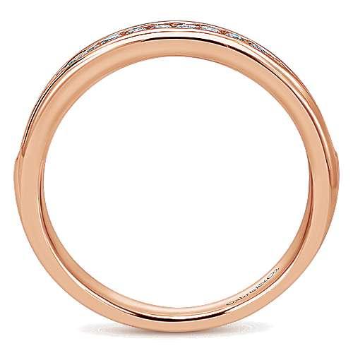 14k Pink Gold Diamond Straight Wedding Band angle 2