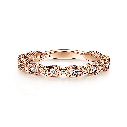 Gabriel - 14k Pink Gold Victorian Straight Wedding Band