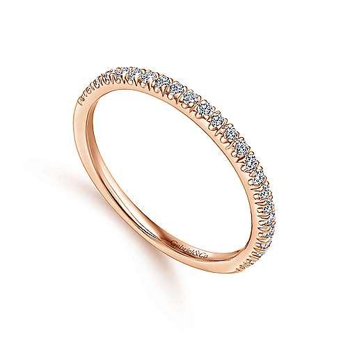 14k Pink Gold Diamond Straight Wedding Band angle 3