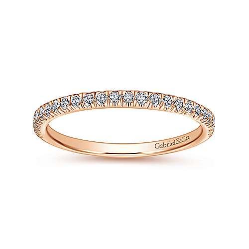 14k Pink Gold Diamond Straight Wedding Band angle 5
