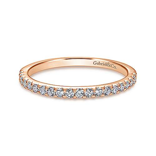 14k Pink Gold Diamond Straight Wedding Band angle 1