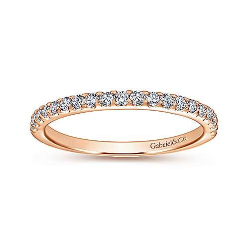14k Pink Gold Diamond Straight Wedding Band angle 5