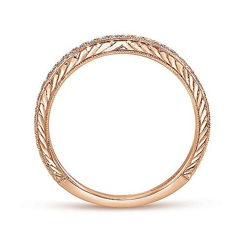 14k Pink Gold Diamond Straight Wedding Band angle 2