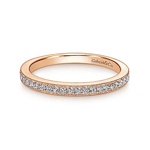 14k Pink Gold Diamond Straight