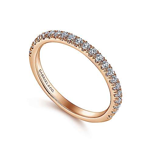 14k Pink Gold Diamond Straight Wedding Band angle 3