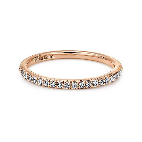 14k Pink Gold Contemporary Straight