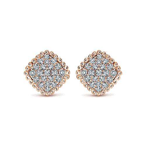 14k Pink Gold Diamond Stud Earrings angle 1