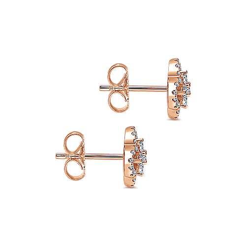 14k Pink Gold Diamond Stud Earrings angle 3