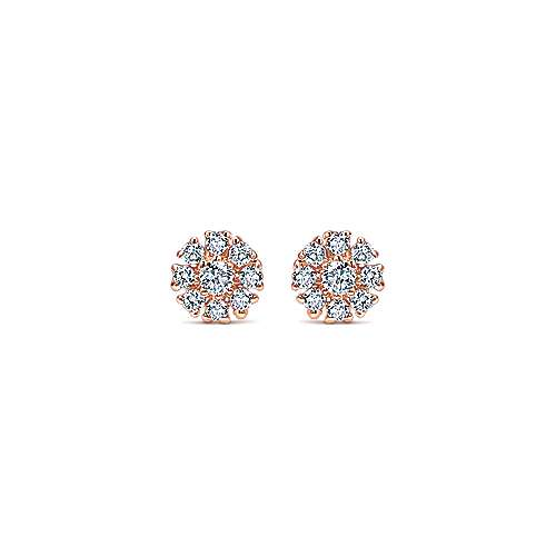 Gabriel - 14k Pink Gold Floral Stud Earrings