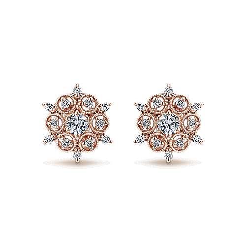 Gabriel - 14k Pink Gold Victorian Stud Earrings