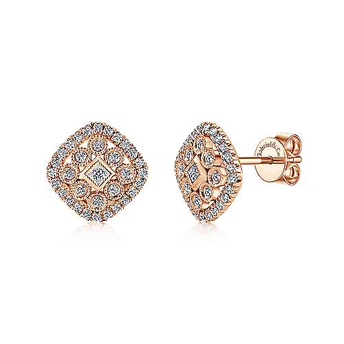 14k Pink Gold Clustered Diamonds Stud